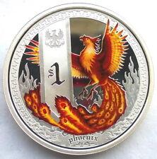 Tuvalu 2013 Phoenix Dollar 1oz Colour Silver Coin,Proof