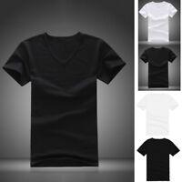 Men's Basic Tee V Neck Casual T-shirt Short Sleeve Summer Solid M/L/XL Regular