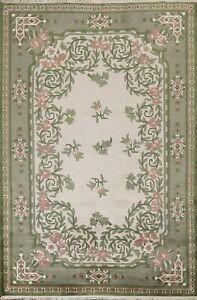Floral Thick Plush Nepalese Tibetan Light Beige/Green Area Rug Wool Carpet 6'x8'