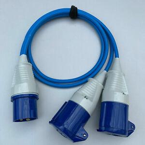 Genuine 16 AMP TO 2 X 16 AMP SOCKETS 2WAY BLUE SPLITTER 240V CARAVAN HOOK UP