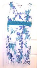 Speechless Girls Dress Floral White Blue Holiday Special Occasion Party Sleevele