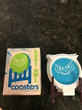 Vintage Gessner 1978 6 Hoot Owl Coasters Blue Pink Yellow New Old Stock USA