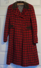 Vintage 50s Girl's Peggy 'n Sue Plaid Coat Flared Skirt B30 Red Brown Wool