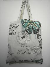 Cotton Linen Tote Shopping Handbag Shoulder Bag Women Girls Purse-Butterfly