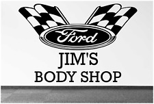 """FORD RACING LOGO FLAG NAME PERSONALIZED 22"""" WALL DECAL MAN CAVE MECHANIC GARAGE"""