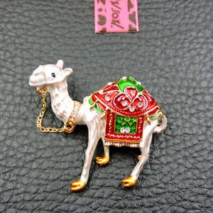 New Rhinestone Cute Red Enamel Desert Camel Betsey Johnson Charm Brooch Pin