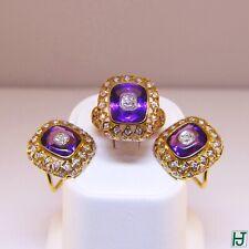Brand New Amethyst, Diamonds Earrings & Ring Set in 18k Yellow Gold