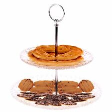 2 Tier Glass Decorative Cupcake Pie Pastry Wedding Cake Stand Platform Plate NEW