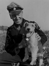 WW2 Photo WWII German Soldier with Dog World War Two Wehrmacht Germany / 2492