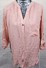 FYLO Womens 3/4 Sleeve Front Pocket Top Sheer Hi Low V-Neck Blush Size Large
