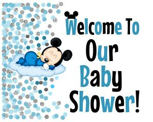 Disney Baby Mickey Mouse STAND UP 8.5x11 Welcome to Shower Sign Blue/Silver Dots