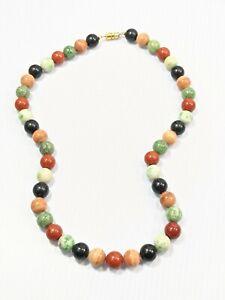 Artisan Green Nephrite Black Onyx Polished Stone Round Bead Necklace 18 Inches