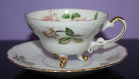 Vintage China Saucer & 3 Toed Cup ~ Floral Roses with Gold Trim ~ Made by Ganz ?