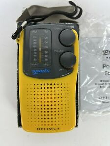 Optimus Sports Radio 12-190 Yellow Am And Fm Tested And Working Box Instructions