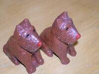 Pair Vintage Scotty Scottie Scottish Terrier Dogs Salt Pepper Shakers Figurines