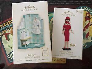 Hallmark Keepsake Barbie Ornament Lot Of 2 2007 Spa Day 2012 Matinee Fashion New