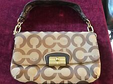COACH Mahogany Sig Shoulder Bag Clutch Purse KRISTIN OP ART FLAP 14910 VERY RARE