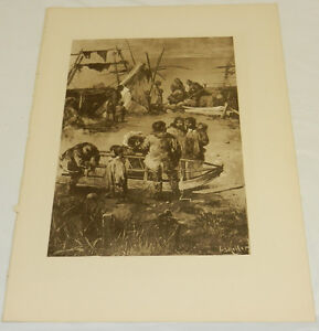1888 Antique Print/HOME LIFE ON BERING SEA, ALASKA/Photogravure by Keller