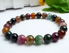 Natural Colorful Tourmaline Round Beads Stretch Bracelet 7.5mm AAAA