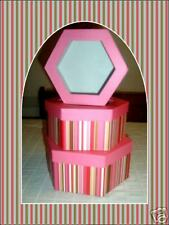 3 Hexagon Multi Color Striped Gift Boxes-3 Sizes-PINK!
