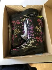 NWT Western Chief Women's Rubber boots Sz 8 Florentina Mid Cal Black w/Flowers