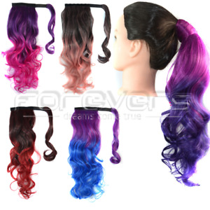 Dip Dye Ombre Wrap Around Ponytail Clip in Hair Extensions Ponytal Top Quality