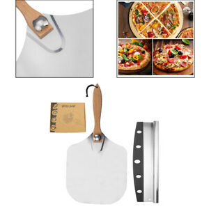 Aluminum Pizza Peel 12''x14'' and Pizza Cutter 14'' Convenient To Store