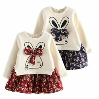 2pcs Toddler Kids Baby Girls Outfits Clothes Sweater Tops+Floral Skirt Dress Set