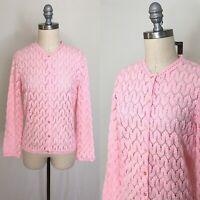 "Vintage 60s ""Americana"" Pink Pointelle Knit Cardigan Size Medium"