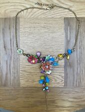 MULTI COLOURED FLORAL NECKLACE 21.5 INCH PRETTY SUMMER EVENING PARTY GLAM BOHO