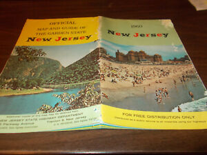 1960 New Jersey State-issued Vintage Road Map