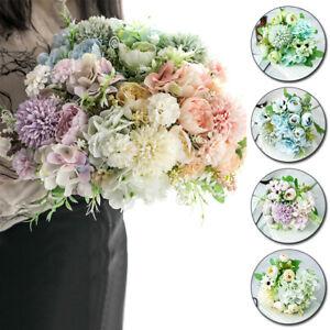 Silk Peony Bunch Artificial Flowers 30cm Fake Rose Bouquet Wedding Party Decor