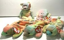 5 TY BEANIE BABY BEARS & JELLYFISH / TIE DYE LOT ~ GROOVY SAMMY GOOCHY FROM 1999