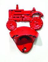 """Cast Iron RED TRACTOR Wall-Mounted Bottle Opener, 4.5"""" Tall, by Manual"""