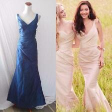 NEW Jim Hjelm Occasions NAVY BLUE V-Neck PLEATED DRAPED Dupioni TRUMPET GOWN 6 8