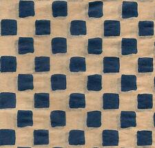 Primitive Navy Check Print on Kraft Tissue Paper # 441 ~ 10 Large Sheets