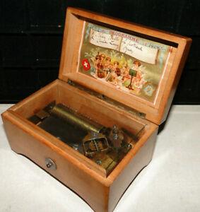 RARE ANTIQUE MARQUE DE FABRIQUE 1840 2 AIRS MUSIC BOX STILL PLAYS VERY UNIQUE