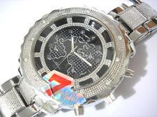Iced Out Bling Bling Globe Dial Silver Bracelet 7-color Light Men's Watch # 4354