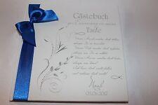 Hardcover Gästebuch zur Taufe Taufgeschenk Taufbuch weiß - dunkelblau