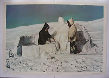 Wandbild Iglo Eskimo snow house vintage Igloo chart 92x64 ~1957 Ice age Canada..