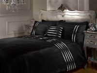 Rapport Crystal Diamante Embellished Duvet Cover Bedding Set Black