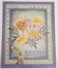 "NEW A327 11x14/"" 1998 Bernard Printed USA Marigold Seeds 5c Yellow Blue"