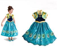 Kids Girls Frozen Queen Anna Princess Cosplay Costume Set Party Fancy Dress 3-8T