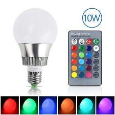 10W E27 RGB LED Light Bulb 16 Color Changing Globe Lamp 85-265V + Remote Control