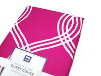 Pottery Barn Teen Pink Infinity Stripe Full Queen Duvet Cover 2 Standard Shams