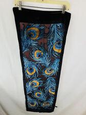 Vintage Metropolitan Museum Sheer/Velvet Fancy Rayon/Silk Scarf Peacock Feathers