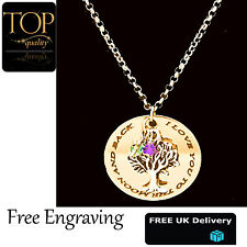Personalised Family Tree Of Life Disc Mum Engraved Name Necklace Gold Plated UK