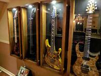 Hardwood guitar display case Glossy walnut Finish
