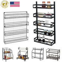 Spice Rack 2~5 Tier Holder Herbs Jars Kitchen Storage Stand Foldable Wall Mount