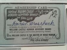 "Willam Castle Vintage Autograph! Original ""13 Ghosts"" Membership Card 1960"